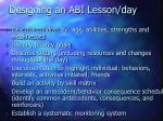 designing an abi lesson day