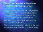 differences between abi other naturalistic approaches