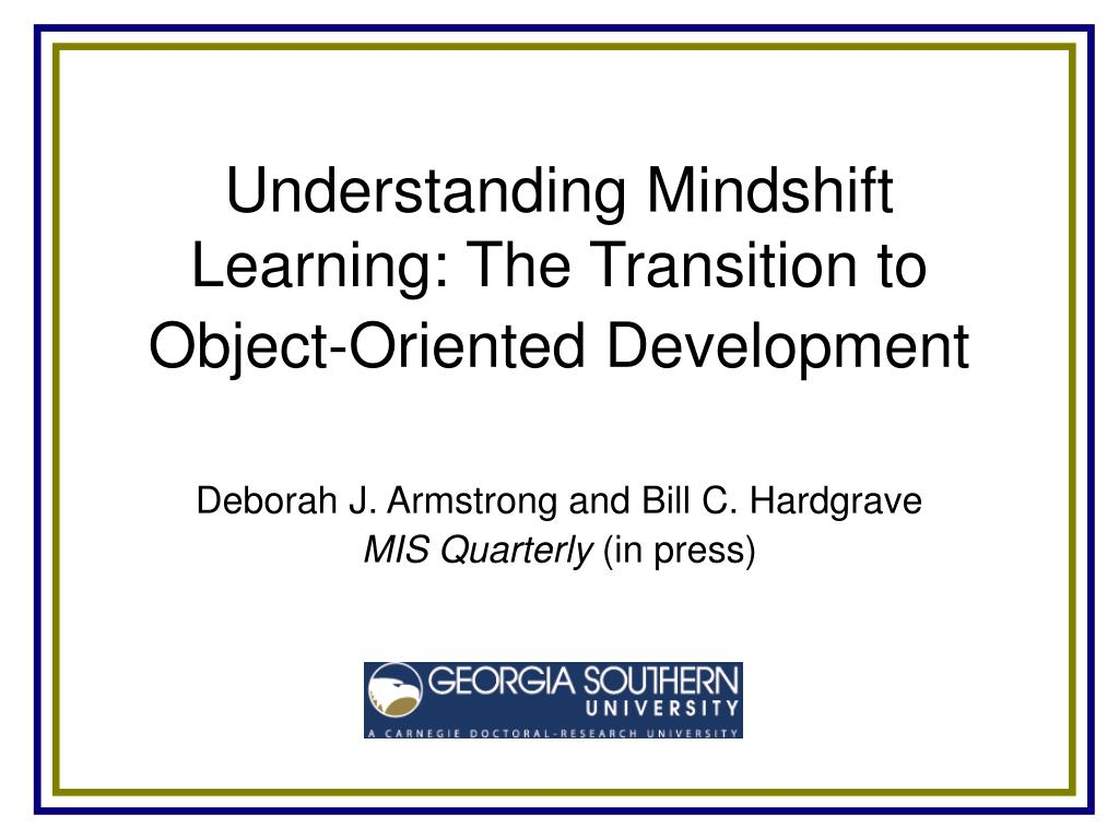 understanding mindshift learning the transition to object oriented development l.