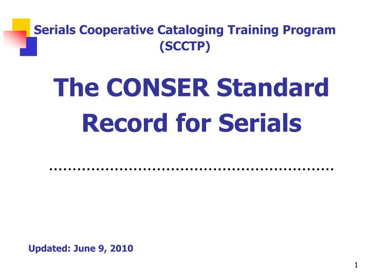 the conser standard record for serials n.