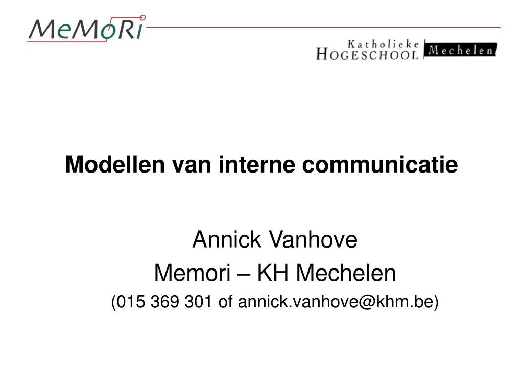 modellen van interne communicatie l.