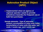 autovalue product object apo