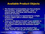 available product objects