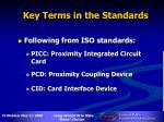 key terms in the standards