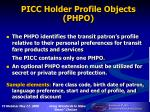 picc holder profile objects phpo