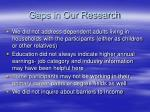 gaps in our research
