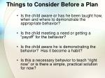 things to consider before a plan