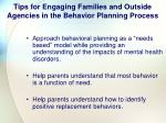 tips for engaging families and outside agencies in the behavior planning process111