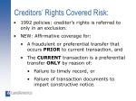 creditors rights covered risk