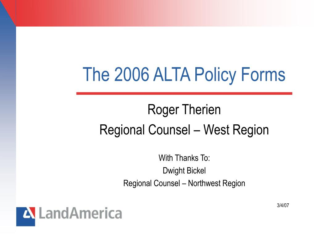 the 2006 alta policy forms l.