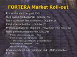 fortera market roll out