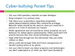 cyber bullying parent tips
