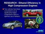 research ethanol efficiency in high compression engines