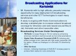 broadcasting applications for karisimbi