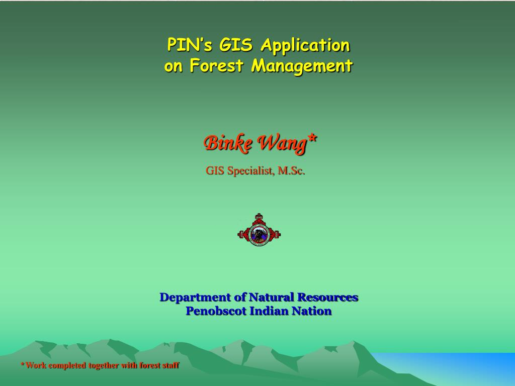 pin s gis application on forest management l.