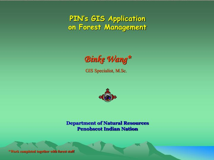pin s gis application on forest management n.