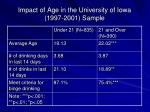 impact of age in the university of iowa 1997 2001 sample