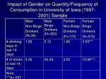 impact of gender on quantity frequency of consumption in university of iowa 1997 2001 sample