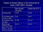 impact of greek status in the university of iowa 1997 2001 sample
