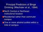 principal predictors of binge drinking wechsler et al 1994