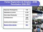 ferias regionales de empleo ahm resultados 2006 2007
