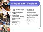 principios para certificaci n