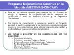 programa mejoramiento continuo en la maquila mecomaq cimcaw