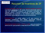 resumen de incentivos de zf50