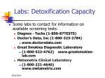 labs detoxification capacity