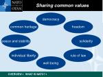 sharing common values