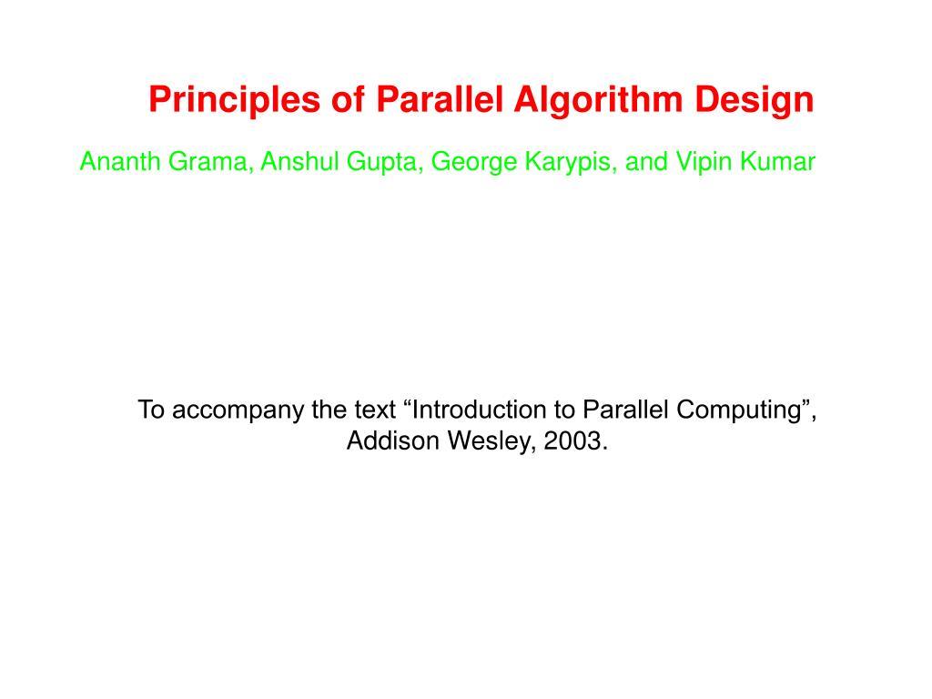 principles of parallel algorithm design l.