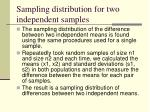 sampling distribution for two independent samples