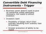 convertible debt financing instruments trigger