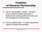 creation of general partnership