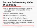 factors determining value of company