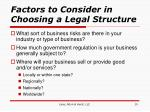 factors to consider in choosing a legal structure10