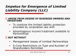 impetus for emergence of limited liability company llc