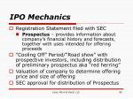 ipo mechanics