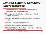 limited liability company characteristics