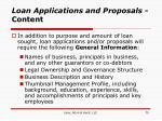 loan applications and proposals content