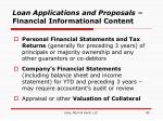 loan applications and proposals financial informational content