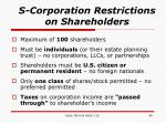 s corporation restrictions on shareholders