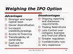 weighing the ipo option