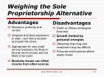 weighing the sole proprietorship alternative