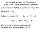mathematical basis for optimization is the kuhn tucker necessary conditions