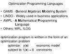 optimization programming languages