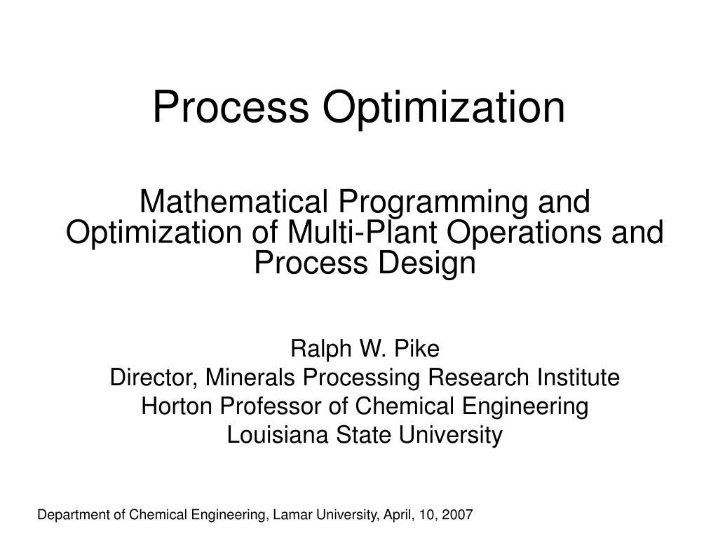 process optimization l.