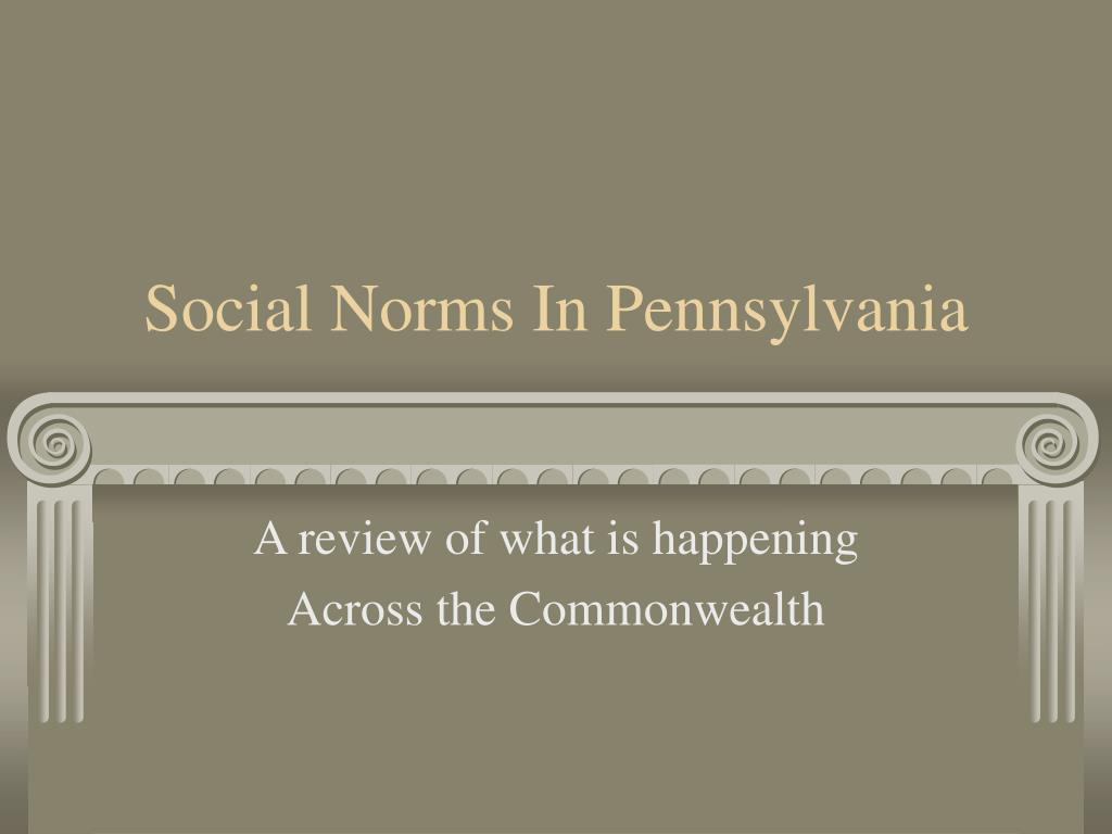 social norms in pennsylvania l.