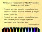 what does research say about phonemic awareness instruction7