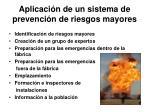 aplicaci n de un sistema de prevenci n de riesgos mayores